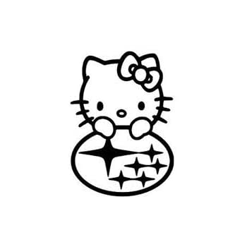 Amazon Com Hello Kitty Subaru Premium Decal 5 White