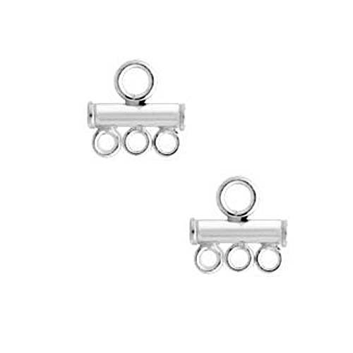 Sterling Silver Triple Strand Reducer Connector for 2.5mm Beads (2)