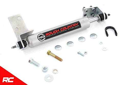 Rough Country N3 Premium Steering Stabilizer Compatible w/ 1988-2006 Chevy Silverado GMC Sierra Steering Damper 8732630 - Gmc K1500 Steering Damper