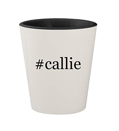 #callie - Ceramic Hashtag White Outer & Black Inner 1.5oz Shot Glass