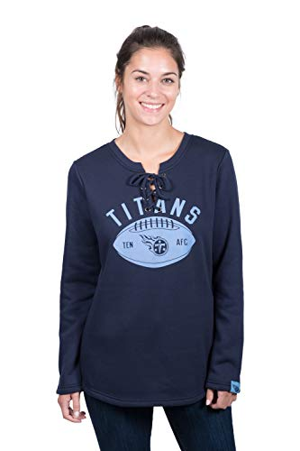 Icer Brands NFL Tennessee Titans Women's Fleece Sweatshirt Lace Long Sleeve Shirt, Navy, Large