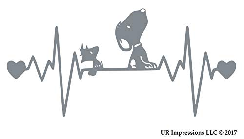 (UR Impressions Silv 10.3in. Snoopy and Woodstock Heartbeat Decal Vinyl Sticker Graphics for Cars Trucks SUV Vans Walls Windows Laptop|Silver|10.3 X 5.5 Inch|URI681-S)