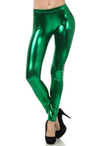 Sakkas Footless Liquid Wet Look Metallic Stretch Leggings - Green/Small
