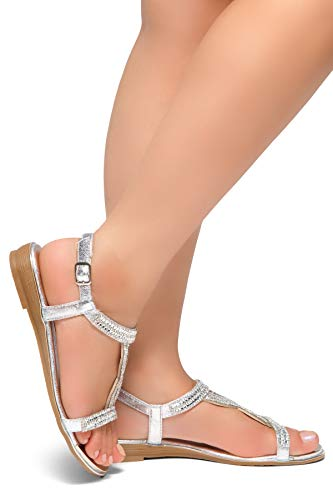 Beaded Wedding Heels - Herstyle Women's Caterinnaa - Rhinestone Detail, Opend Toe Stacked Heel Silver/Silver 11.0