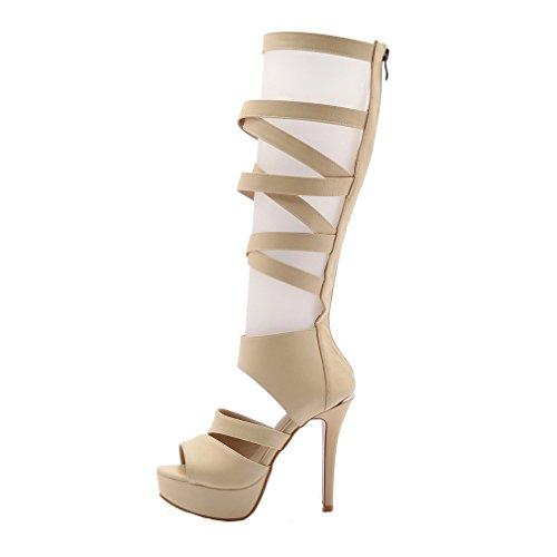 YE Damen Peep Toe Stiletto High Heels Plateau Sandalen Knee High  Sommerstiefel mit 12cm Absatz Pumps ...