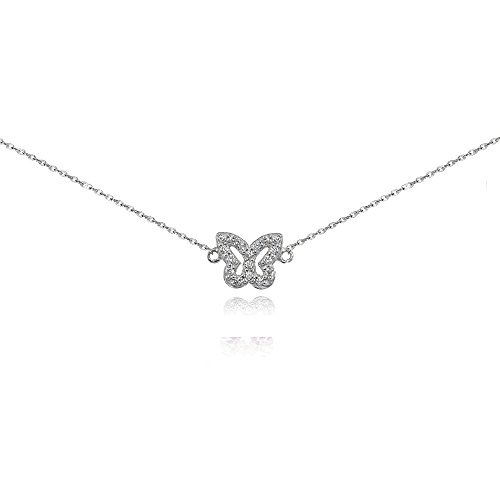 Sterling Silver Cubic Zirconia Butterfly Choker Necklace