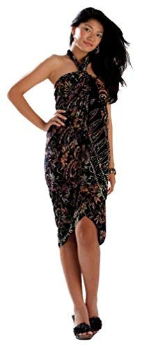 427fe5e7b43c9 1 World Sarongs Womens Abstract Leaf Swimsuit Cover-Up Sarong in Black