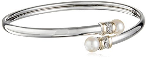 14k Yellow Gold Bangle Bracelet - Sterling Silver and 14k Yellow Gold Freshwater Cultured Pearl and Diamond Bypass Bangle Bracelet, 8