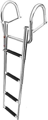 Marinebaby 4 Steps Pontoon Boat Ladder, Stainless Steel Folding Telescoping Rear Entry Inboard Ladder Heavy Du