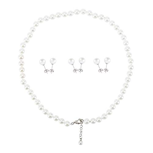 (LEILEE Faux Hand Knotted Glass Imitation Pearls Necklace Earring Jewelry 4 Set for Women and Girl (White 8mm 18inch))
