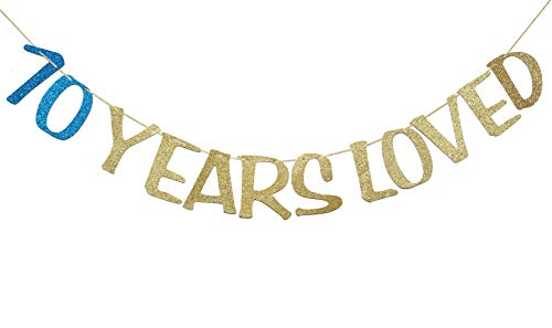 70 Years Loved Banner Sign Gold Glitter for 60th Birthday Party Decorations Anniversary Decor Photo Booth Props (70th, Navy Blue) -