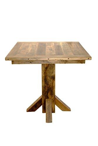 Rustic Reclaimed Barn Wood Bar Height Pedestal Pub Table - Clear Varnish (Ex Pub Furniture)