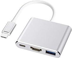 USB Type c HDMI アダプター 3 in 1 USB タイプc 変換アダプタ 4K 解像度 HDMIポート+USB 3.0高速ポート+USBタイプC急速充電ポート USB C ハブ MacBook Pro/MacBook Air...