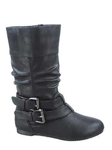 FZ-Sonny-54k Youth Girls Fashion Low Heel Zipper Buckle Round Toe Riding Boot