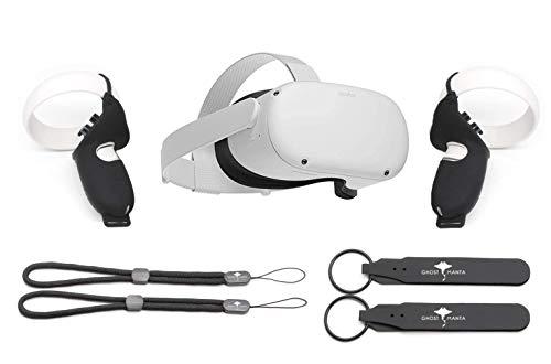 Flagship Oculus Quest 2 All-in-One Virtual Reality 64 GB Auriculares para juegos con paquete de ajuste, alta resolución, compatible con PC VR, con protección de controlador GM Accesorios de agarre