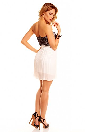 Kurzes Bandeau Kleid Partykleid, Abendkleid, Cocktailkleid Spitze Chiffon in verschiedenen Farben Weiß