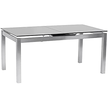Armen Living LCIVDIGG Ivan Extendable Dining Table With Tempered Glass Top  And Brushed Stainless Steel Finish