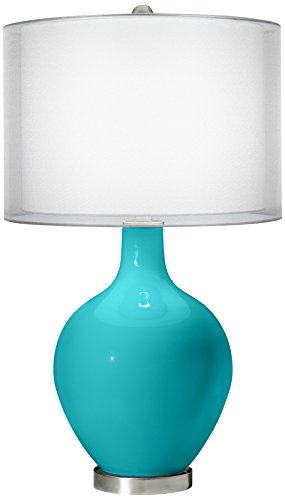 Surfer Blue Double Sheer Silver Shade Ovo Table Lamp (Blue Ovo Table Lamp)