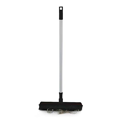 Rubber Bristles Push Broom with Long Handle Carpet Brush Squeegee Broom Cleaning for Dog/Cat Hair (Black)
