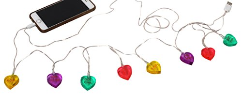 Decor Craft Inc (DCI Candy Heart LED Lights, Glow in the Dark, USB and Charging Cable, 46 inch, Compatible with iPhone 5, 5s, 6, 6 Plus, 7, 7 Plus, 8 models)