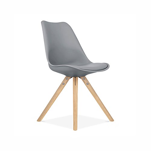 Design Lab MN Viborg Side Chair Natural Base, Set of 2, Grey Seat For Sale