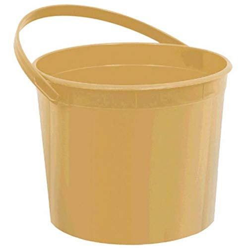 Plastic Bucket | Gold | Party Accessory | 12 Ct.