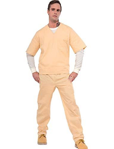 Adult Mens Chain Gang Prisoner Beige Prison Suit -