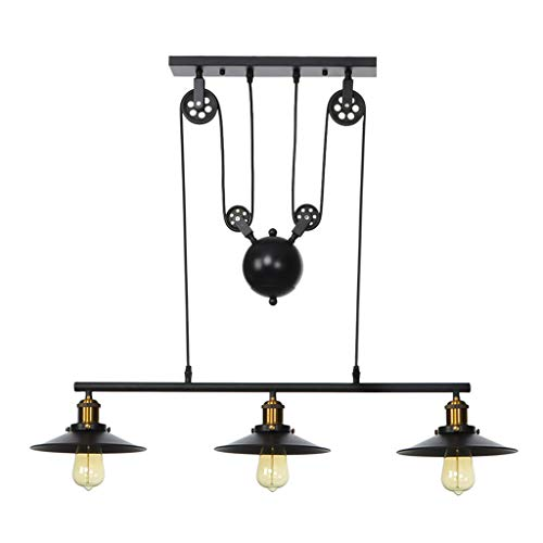 Sodoop Iron Hill Three-Light, Indoor Chandelier, Mid-Century Industrial 3-Light Wall Sconce for Pool Table Farmhouse Kitchen Island Bar Retro Hanging Lamp, Black Painted Bronze Finish ()