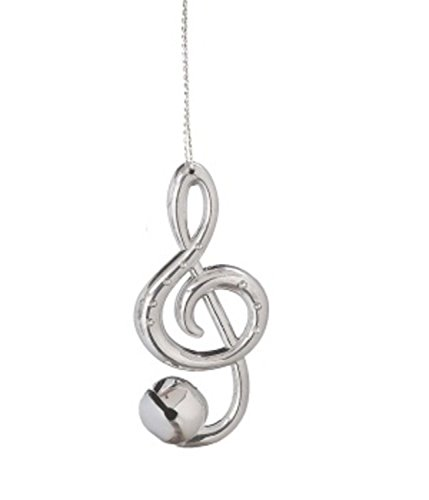 Shiny Silver Treble Clef Music Note Jingle Bell Christmas (Music Ornaments)