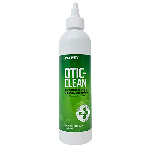 Pet MD Otic Clean Dog Ear Cleaner for Cats and Dogs - Effective Against Infections Caused by Mites, Yeast, Itching and Controls Odor - 8 oz (Cucumber Melon)