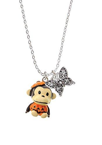 [Resin Monkey in Pumpkin Costume - Butterfly Sophia Necklace, 18