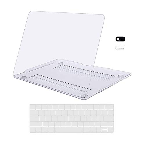 MOSISO Compatible with MacBook Pro 13 inch Case 2020 2019 2018 2017 2016 Release A2338 M1 A2289 A2251 A2159 A1989 A1706 A1708, Plastic Hard Shell Case&Keyboard Cover Skin&Webcam Cover, Crystal Clear