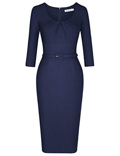 MUXXN Ladies Classy Scoop Neck Sheath Tunic Bodycon Casual Club Dress (Blue M)