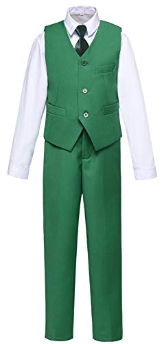 - Visaccy Boys Suits Green Dress Pants and Vest with White Shirt for Kids Outfit Size 14