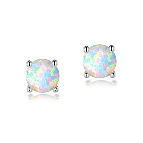 OPALTOP 6MM Round Gemstone Blue Fire Opal Flower Stud Earrings For Girls Platinum Plated