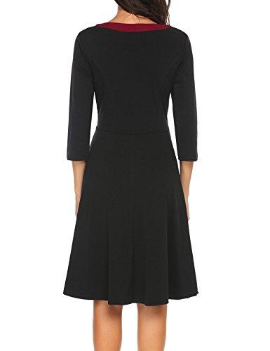 Acevog 3/4 Bouton Manches Pour Les Femmes En Bas D'une Ligne Casual Robe Torche Midi Avec Poche Noir