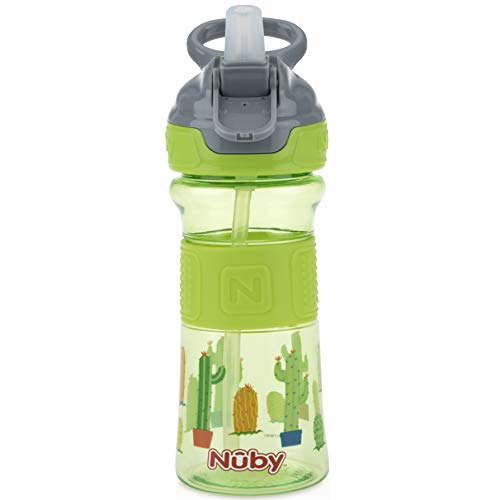 Nuby Thirsty Kids Push Button Flip-it Soft Spout on The Go Water Bottle with Easy Grip Band, Green Cactus, 12 Ounce ()