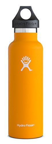 Hydro Flask 21 oz Vacuum Insulated Stainless Steel Water Bottle, Standard Mouth w/Loop Cap, Mango