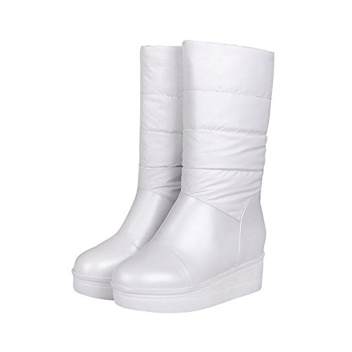 PU Women's Round on Heels High White Boots Pull Allhqfashion Closed Solid Toe n6xfBnO
