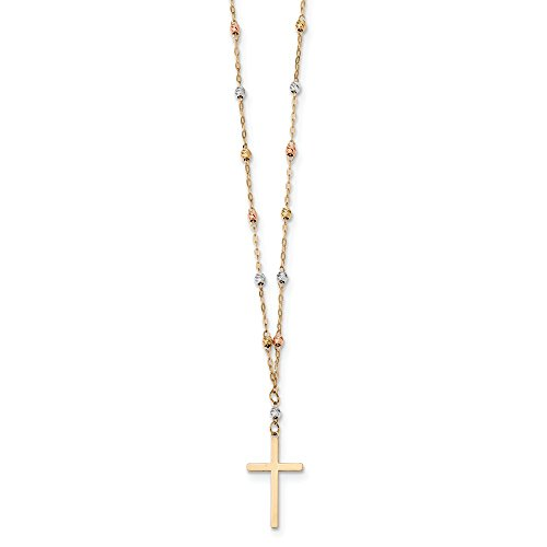 Solid 14k Gold Tri-color Diamond-Cut Beaded Polished Cross Necklace Chain (0.9mm) - 0.9 Mm Polished Diamond