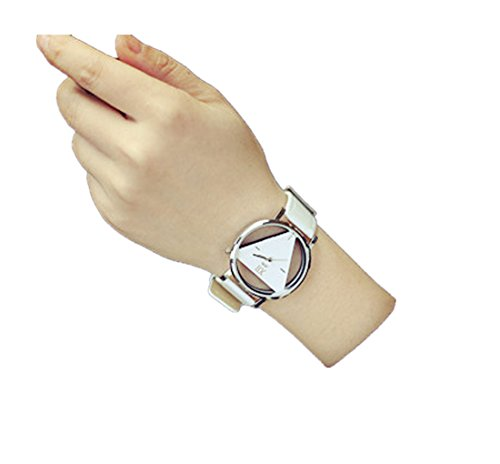 Unisex Unique Hollowed-Out Triangular Dial Watch For Lover Couple Valentine's Day Gift (White)
