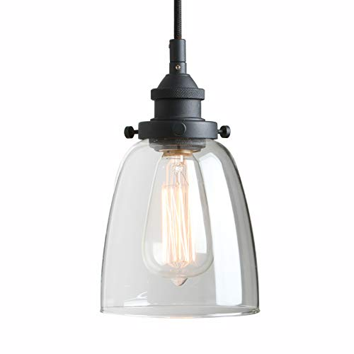 Pathson Retro Pendant Lighting, Industrial Small Hanging Light with Clear Glass and Textile Cord, Adjustable Kitchen Lamp for Hotels Hallway Shops Cafe Bar Flush Mount Ceiling Light (Lamp Light Glass Pendant)