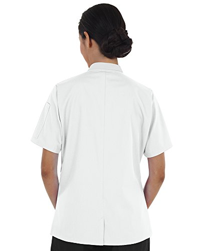 Women's Lightweight Short Sleeve Chef Coat (XS-3X, 3 Colors) (Medium, White) by ChefUniforms.com (Image #8)