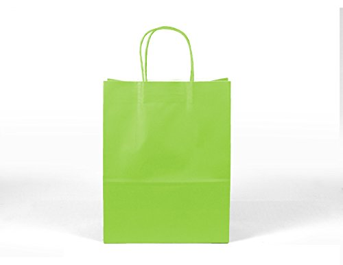 12CT LARGE LIME GREEN BIODEGRADABLE PAPER, PREMIUM QUALITY PAPER (STURDY & THICKER), KRAFT BAG WITH COLORED STURDY HANDLE (Large, Lime green)