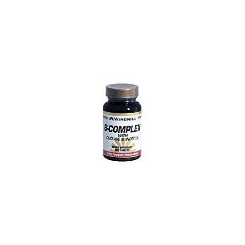 Windmill B-Complex Tablets With Choline and Inositol 100 TB - Buy Packs and SAVE (Pack of 2) -