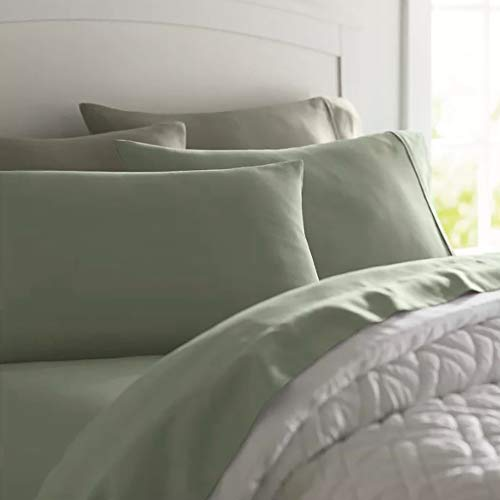 Deluxe Tradition Crisp, Breathable and Lavishly Soft 100% Long Staple Cotton Queen Sheets and Pillowcases; Rich Sage 300 Thread Count Sateen Weave