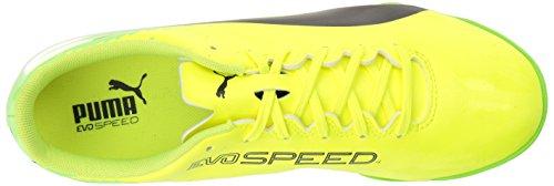 Scarpa da calcio per uomo Evospeed 17.4 TT, sicurezza Geco nero-verde con puma gialla, 12 M US