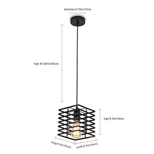Black Pendant Light, Industrial Hanging Light Fixture Cage Pendant Lighting Edison Small Ceiling Light for Kitchen Island Living Room Bedroom