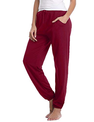 Abollria Women's Cotton Pajama Pants Stretch Lounge Pants with Pockets Jogger Pants (Wine Red, Medium)