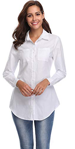 bray Button Down Shirt Long Sleeve Jeans Top, White, X-Large (US 14-16) ()